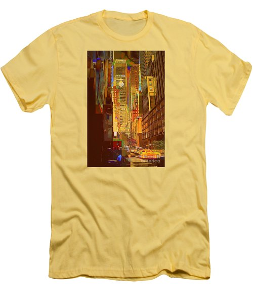 East 45th Street - New York City Men's T-Shirt (Slim Fit) by Miriam Danar