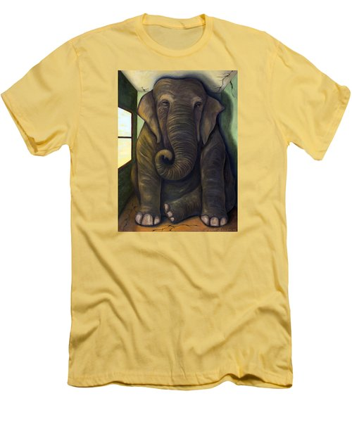 Elephant In The Room Men's T-Shirt (Slim Fit) by Leah Saulnier The Painting Maniac