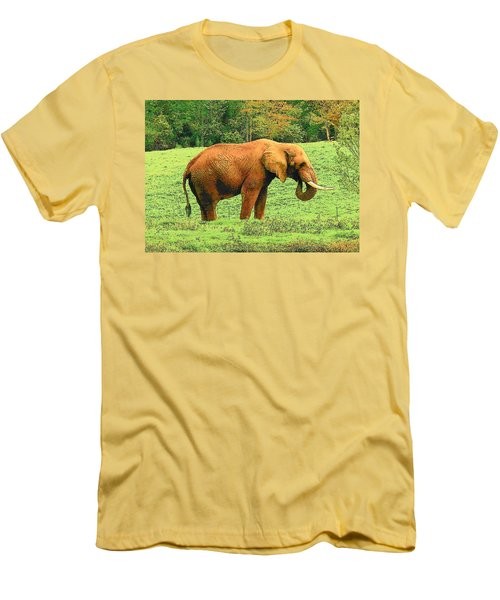 Men's T-Shirt (Slim Fit) featuring the photograph Elephant by Rodney Lee Williams