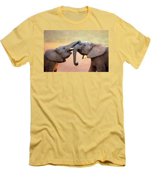Elephants Touching Each Other Men's T-Shirt (Slim Fit) by Johan Swanepoel