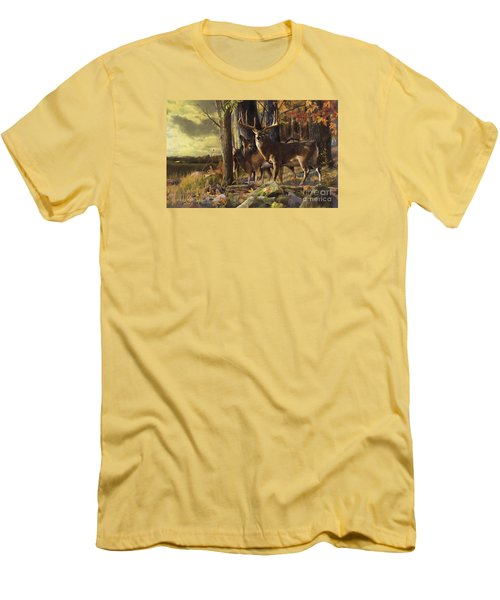 Men's T-Shirt (Slim Fit) featuring the painting Eminence At The Forest Edge by Rob Corsetti