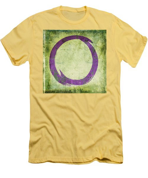 Enso No. 108 Purple On Green Men's T-Shirt (Slim Fit)
