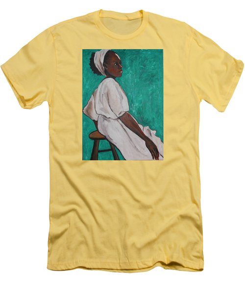 Ethiopian Woman In Green Men's T-Shirt (Slim Fit) by Esther Newman-Cohen