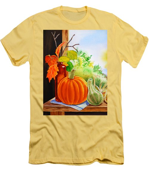 Men's T-Shirt (Athletic Fit) featuring the painting Fall Leaves Pumpkin Gourd by Irina Sztukowski