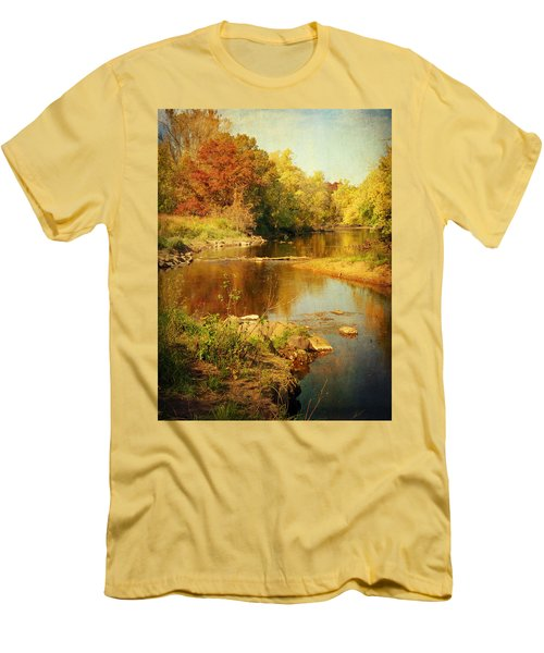 Fall Time At Rum River Men's T-Shirt (Slim Fit) by Lucinda Walter