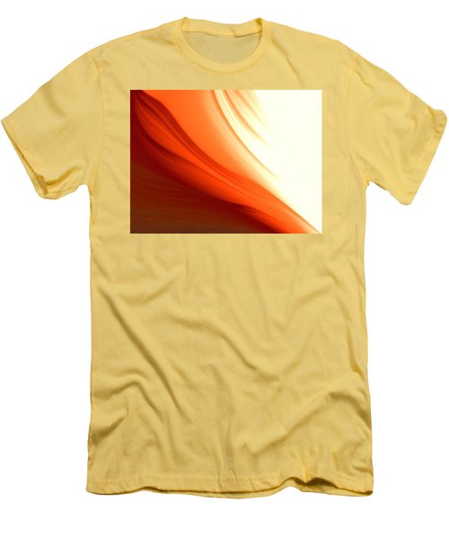Men's T-Shirt (Slim Fit) featuring the digital art Glowing Orange Abstract by Gabriella Weninger - David