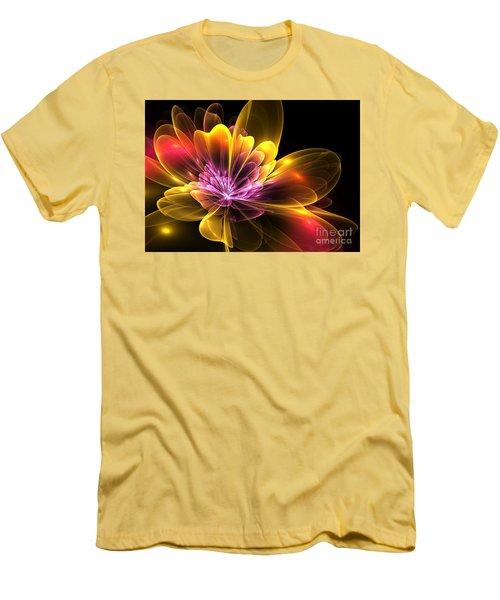 Men's T-Shirt (Slim Fit) featuring the digital art Fire Flower by Svetlana Nikolova