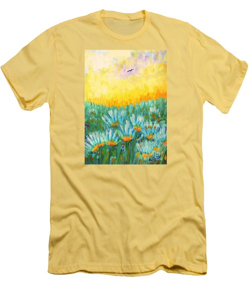 Men's T-Shirt (Slim Fit) featuring the painting Firelight by Holly Carmichael