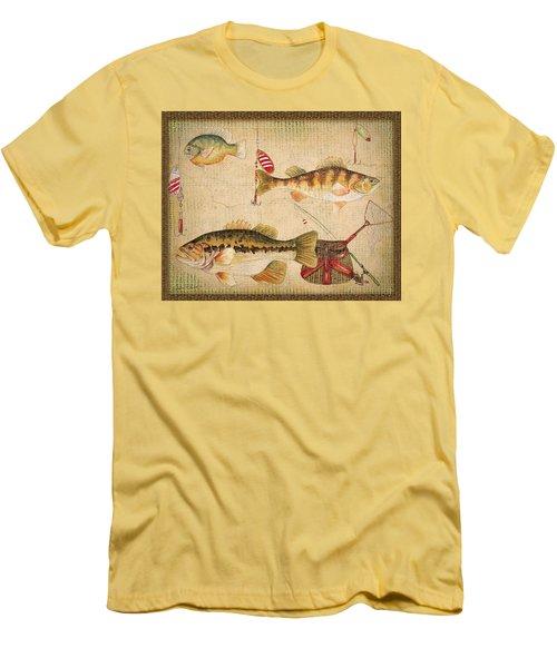 Fish Trio-a-basket Weave Border Men's T-Shirt (Slim Fit) by Jean Plout