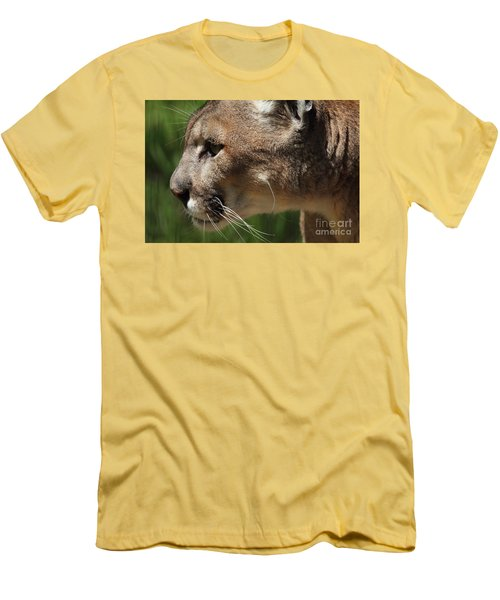 Men's T-Shirt (Slim Fit) featuring the photograph Florida Panther Profile by Meg Rousher