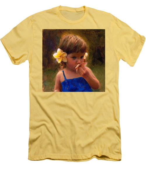 Flower Girl - Tropical Portrait With Plumeria Flowers Men's T-Shirt (Slim Fit) by Karen Whitworth