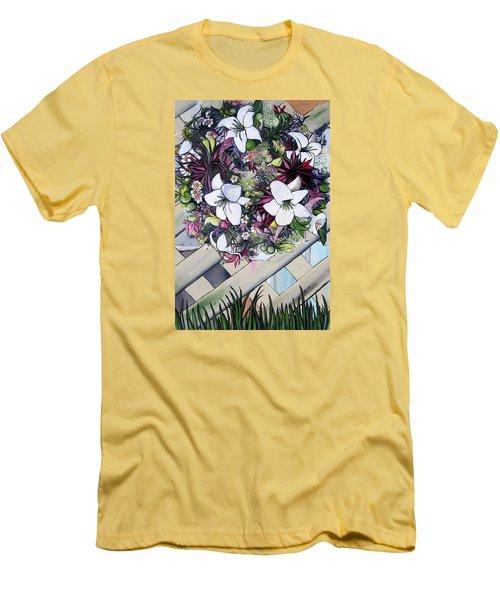 Floral Wreath Men's T-Shirt (Athletic Fit)
