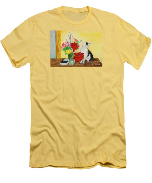 Fluff Smells The Lavender- Painting Men's T-Shirt (Slim Fit) by Veronica Rickard