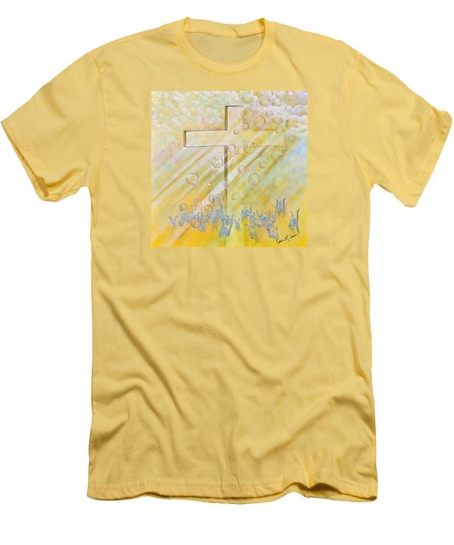 Men's T-Shirt (Slim Fit) featuring the painting For The Cross by Cassie Sears