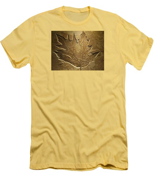 Fossilized Maple Leaf Men's T-Shirt (Slim Fit) by Connie Fox