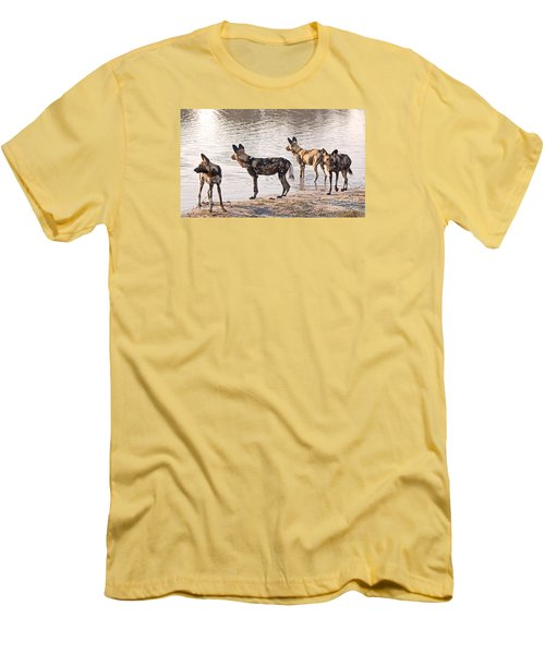 Men's T-Shirt (Slim Fit) featuring the photograph Four Alert African Wild Dogs by Liz Leyden