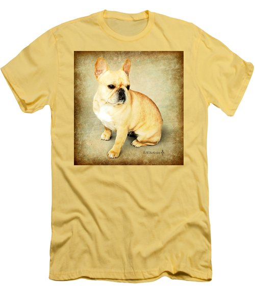 Men's T-Shirt (Slim Fit) featuring the photograph French Bulldog Antique by Barbara Chichester