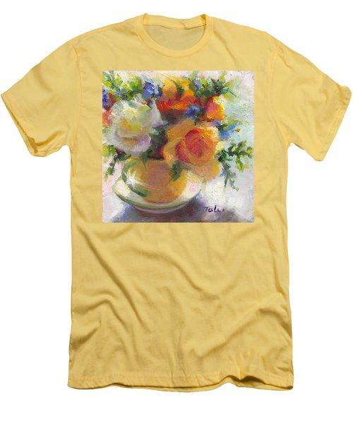 Fresh - Roses In Teacup Men's T-Shirt (Athletic Fit)
