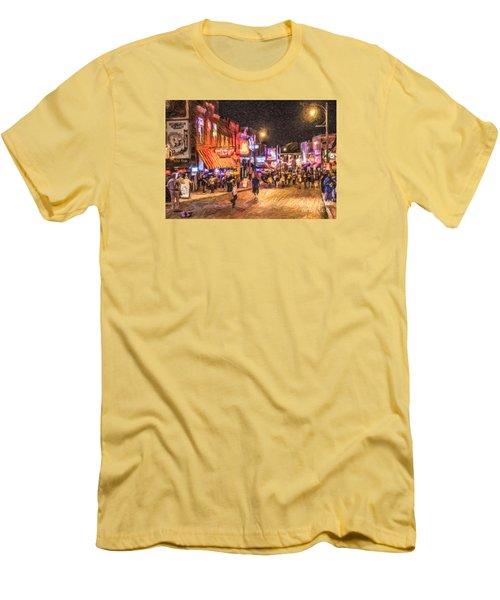 Friday Night On Beale Men's T-Shirt (Slim Fit) by Liz Leyden
