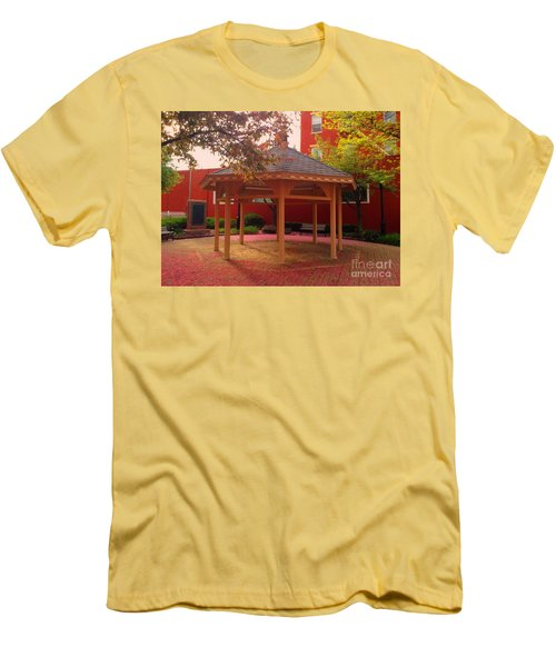 Men's T-Shirt (Slim Fit) featuring the photograph Gazebo In Pink by Becky Lupe