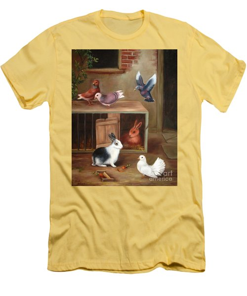 Men's T-Shirt (Slim Fit) featuring the painting Gentle Creatures by Hazel Holland