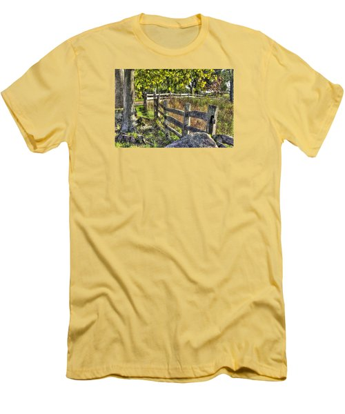 Men's T-Shirt (Slim Fit) featuring the photograph Gettysburg At Rest - Late Summer Along The J. Weikert Farm Lane by Michael Mazaika