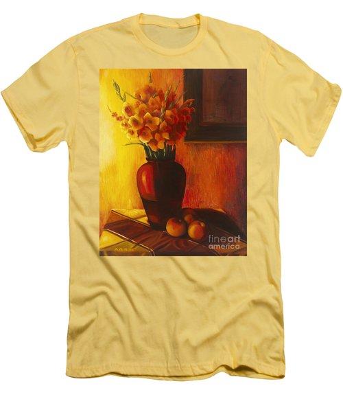 Gladioli Red Men's T-Shirt (Slim Fit) by Marlene Book