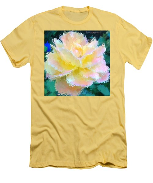 Glazed Pale Pink And Yellow Rose  Men's T-Shirt (Athletic Fit)