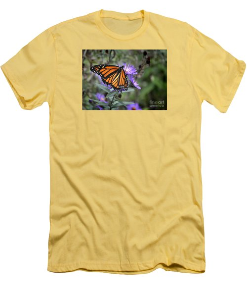 Men's T-Shirt (Slim Fit) featuring the photograph Glowing Butterfly by Nava Thompson