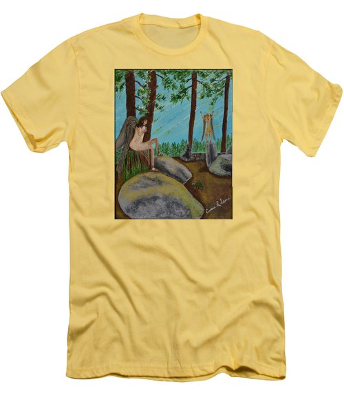 Men's T-Shirt (Slim Fit) featuring the painting God Calls His Angels by Cassie Sears