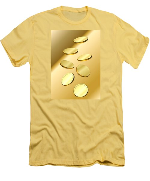 Gold Coins Men's T-Shirt (Slim Fit) by Cyril Maza
