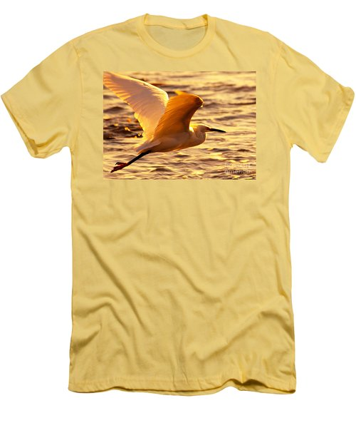 Golden Egret Bird Nature Fine Photography Yellow Orange Print  Men's T-Shirt (Athletic Fit)