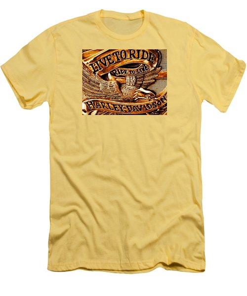 Golden Harley Davidson Logo Men's T-Shirt (Slim Fit) by Chris Berry