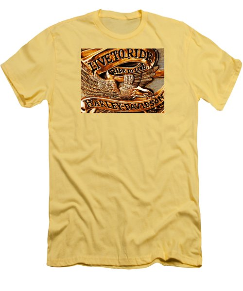 Golden Harley Davidson Logo Men's T-Shirt (Athletic Fit)