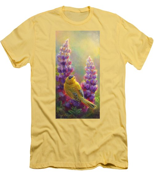 Golden Light 1 Wilsons Warbler And Lupine Men's T-Shirt (Athletic Fit)