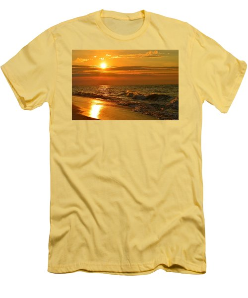 Golden Sunrise Colors With Waves And Horizon Clouds On Navarre Beach Men's T-Shirt (Slim Fit) by Jeff at JSJ Photography