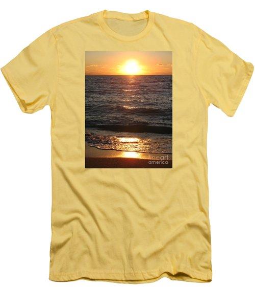 Men's T-Shirt (Slim Fit) featuring the photograph Golden Sunset At Destin Beach by Christiane Schulze Art And Photography