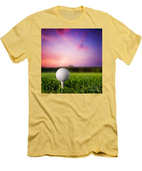 Golf Ball On Tee At Sunset Men's T-Shirt (Athletic Fit)