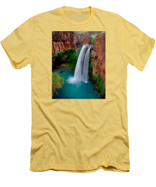 Men's T-Shirt (Slim Fit) featuring the painting Grand Canyon Waterfalls by Bruce Nutting
