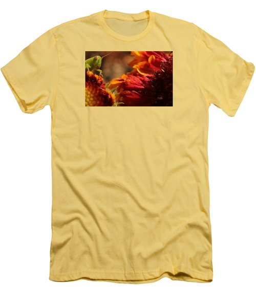 Men's T-Shirt (Slim Fit) featuring the photograph Grasshopper In The Marigolds by Joel Loftus