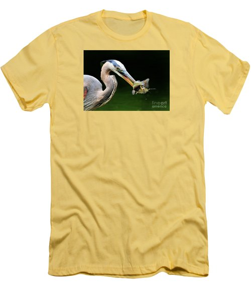 Great Blue Heron And The Catfish Men's T-Shirt (Slim Fit)