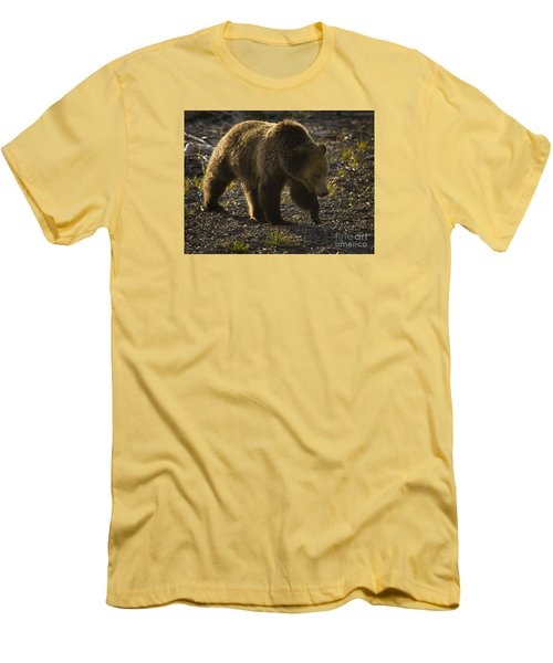 Men's T-Shirt (Slim Fit) featuring the photograph Grizzly Bear-signed-#4435 by J L Woody Wooden