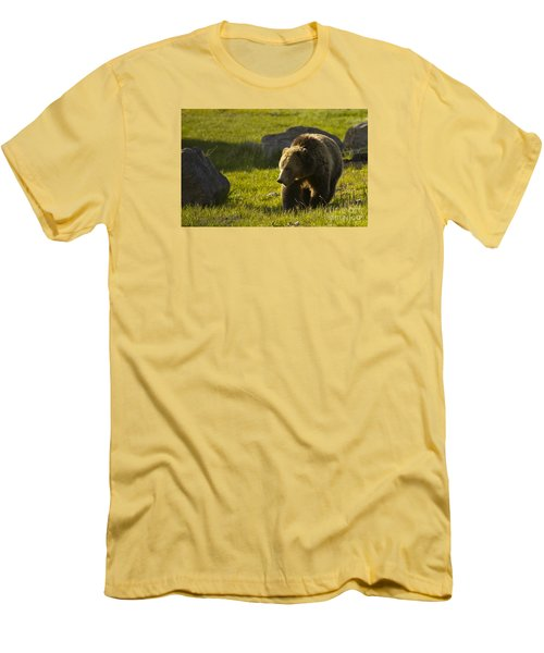 Men's T-Shirt (Slim Fit) featuring the photograph Grizzly Bear-signed-#4545 by J L Woody Wooden