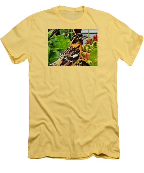 Men's T-Shirt (Slim Fit) featuring the photograph Grosbeak Profile by VLee Watson