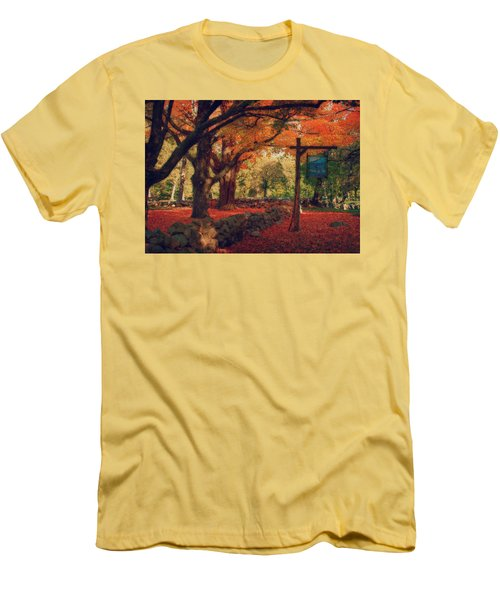 Men's T-Shirt (Slim Fit) featuring the photograph Hartwell Tavern Under Orange Fall Foliage by Jeff Folger
