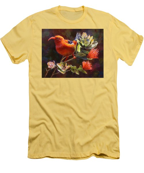 Hawaiian IIwi Bird And Ohia Lehua Flower Men's T-Shirt (Slim Fit) by Karen Whitworth