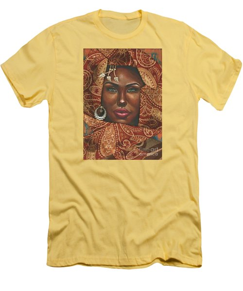 Men's T-Shirt (Slim Fit) featuring the painting Hazel Eyes by Alga Washington