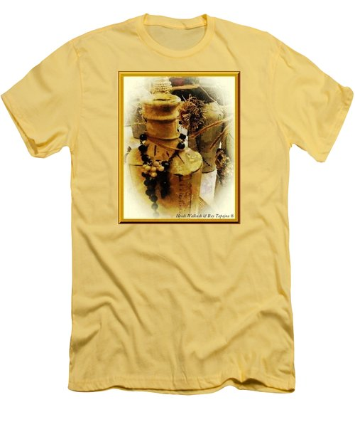 Men's T-Shirt (Slim Fit) featuring the mixed media He Turned Water Into Wine by Ray Tapajna