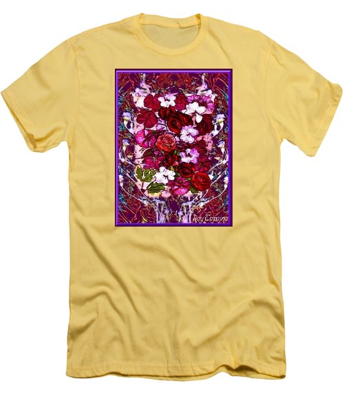 Men's T-Shirt (Slim Fit) featuring the mixed media Healing Flowers For You by Ray Tapajna