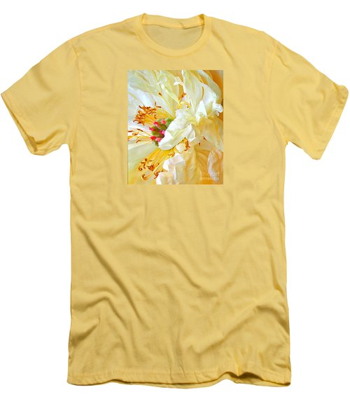 Men's T-Shirt (Slim Fit) featuring the photograph Heart Of Peony by Nareeta Martin